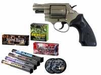 Record Chief Schreckschuss Revolver vernickelt + Sylvester Spar-Set mit insgesamt 90 Effekten