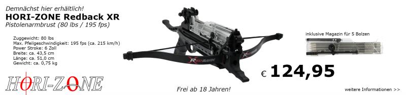 Demnächst bei uns verfügbar! Hori-Zone Redback XR Pistolenarmbrust!