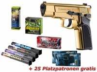 Browning GPDA9 Schreckschuss Pistole Gold Finish + Silvester Spar-Set mit insgesamt 90 Effekten