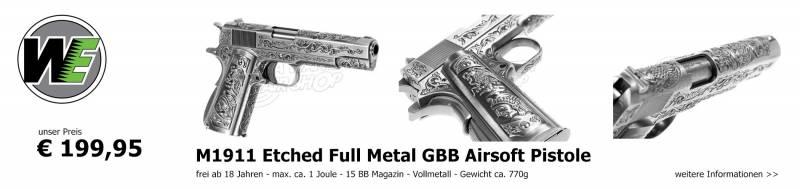Jetzt verfügbar - M1911 Etched Full Metal GBB Airsoft Pistole