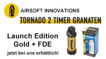 Tornado 2 Airsoftgranaten in Gold und FDE jetzt verfügbar!