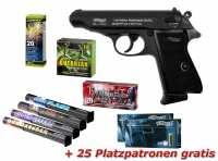 Walther PP Schreckschuss Pistole brüniert + Silvester Spar-Set mit insgesamt 90 Effekten