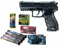 Heckler & Koch P30 Schreckschuss Pistole + Silvester Spar-Set mit insgesamt 90 Effekten