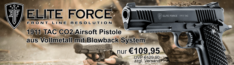 Elite Force 1911 TAC CO2 Airsoft Pistole aus Vollmetall mit Blowback Funktions!
