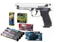GSG Mod. Firat Magnum Schreckschuss Pistole Chrom + Silvester Spar-Set mit insgesamt 90 Effekten
