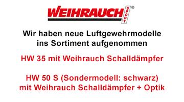 Neu im Sortiment - HW 35 mit Schalldämpfer im Set + HW 50 S in schwarz mit Schallämpfer und Zieloptik im Set!