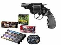 Smith & Wesson S&W Combat Schreckschuss Revolver brüniert + Silvester Spar-Set mit insgesamt 90 Effekten