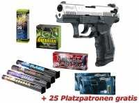 Walther P22 Schreckschuss Pistole vernickelt + Silver Spar-Set mit insgesamt 90 Effekten